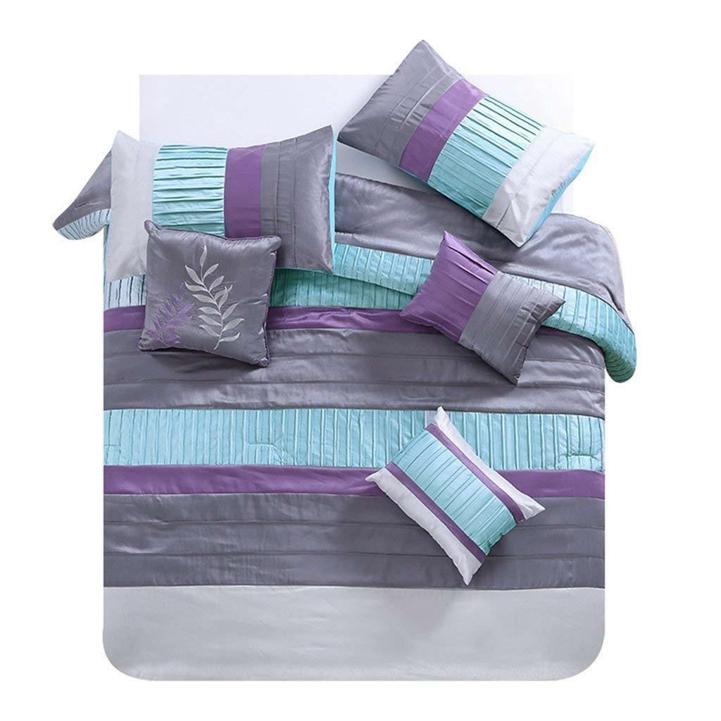7 piece luxury queen comforter set teal