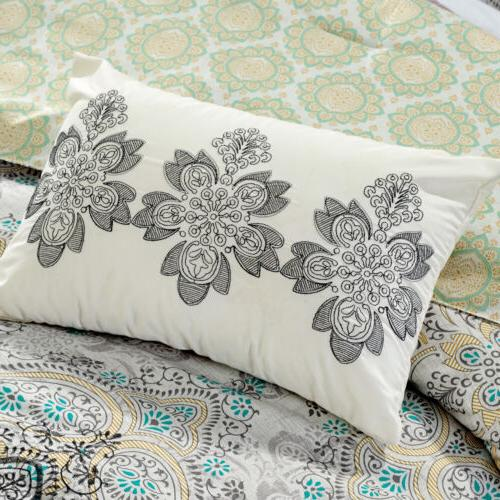 Chezmoi Collection 7-Piece Paisley Scroll Medallion Embroidery Set