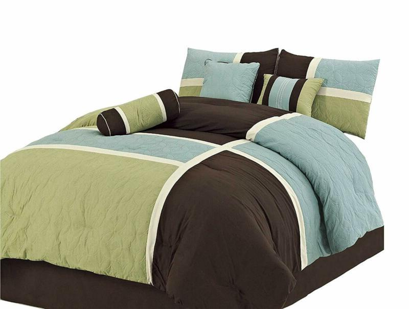 7 piece quilted patchwork comforter set full