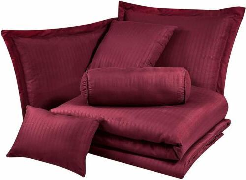 7-Piece Solid Burgundy Embossed Dobby Comforter Set