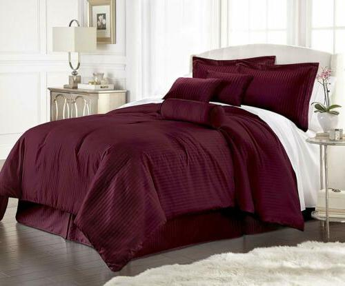 7 piece solid burgundy embossed dobby stripe
