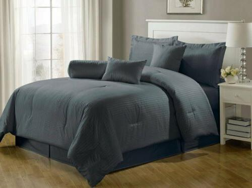7 piece solid gray hotel embossed dobby