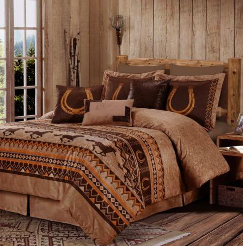 Chezmoi Collection 7-Piece Southwestern Wild Horses Comforte