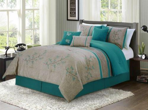 7 piece teal cherry blossoms floral embroidery