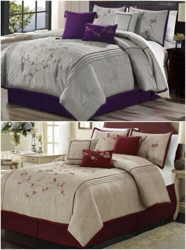 7pc cherry blossoms floral embroidery comforter set