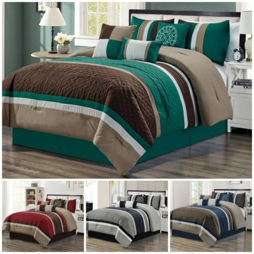 7pc pinsonic quilted trellis striped pleated comforter