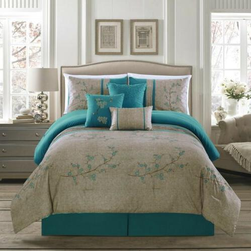 7pc teal cherry blossom floral embroidery comforter