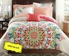 8-PC Queen Coral Pink Multi Reversible Medallion Comforter B