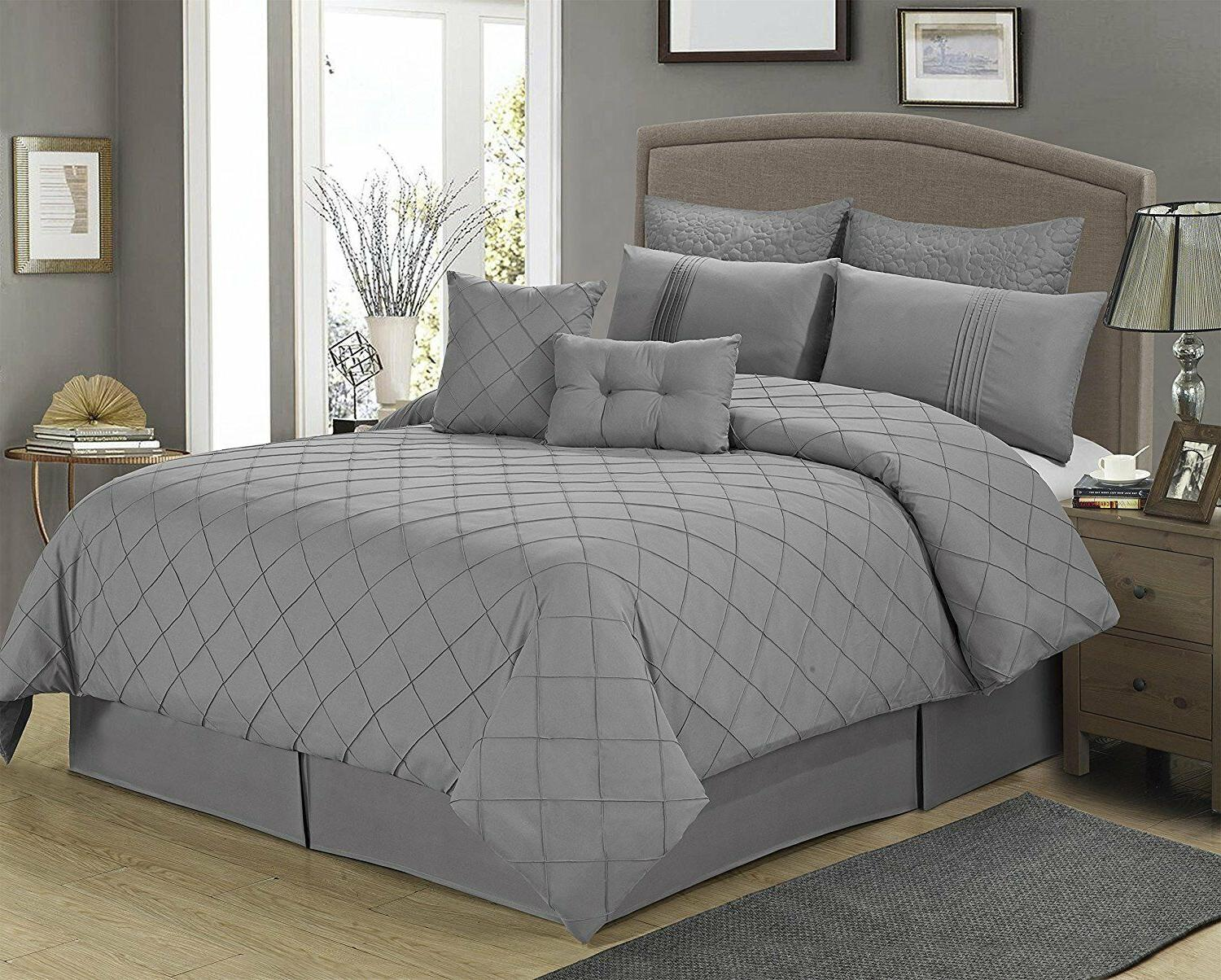 8 piece manchester gray tuc pattern comforter