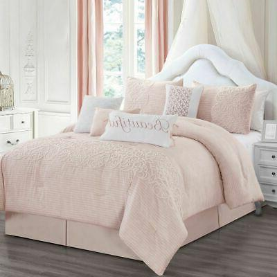 8 Piece Teresa Blush Comforter Set