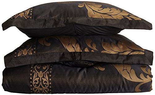 Chezmoi Collection 7-Piece Floral Comforter Set, Queen, Gold