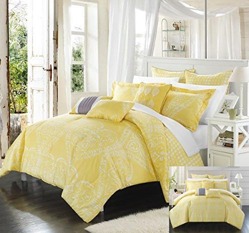 Queen Yellow CS3462-AN Chic Home 8 Piece Sicily Oversized Overfilled Comforter Set