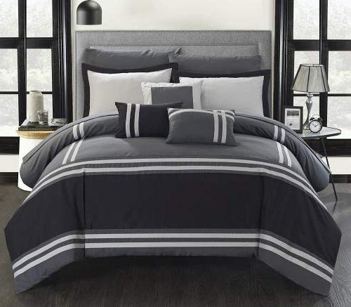 Chic 10 Piece Comforter with Pillows Queen Grey