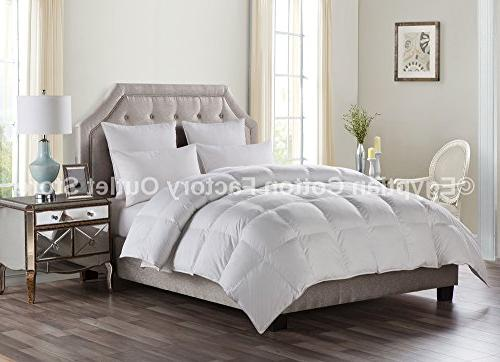 Egyptian Cotton Factory Store LUXURIOUS White Down Comforter Power, 50 Weight, Siliconized Polyester Fiberfill, Baffle
