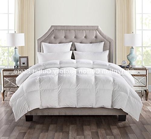 Egyptian Cotton Factory Outlet White Down Comforter 750 Power, Weight, Siliconized Polyester Baffle Box &!