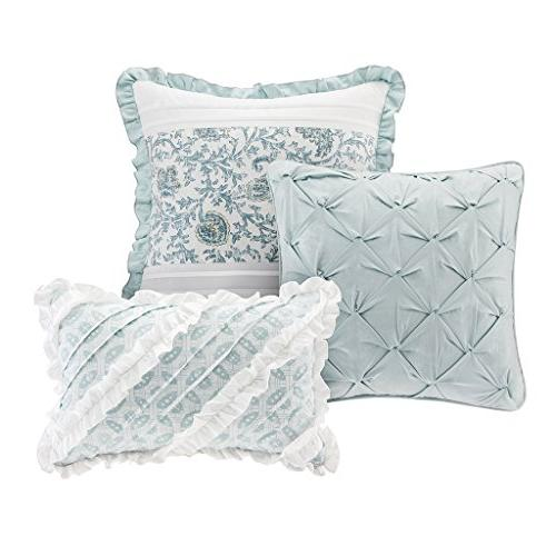 Madison Dawn Size Bed Comforter Bed A - Aqua , Shabby 9 Pieces 100% Comforters