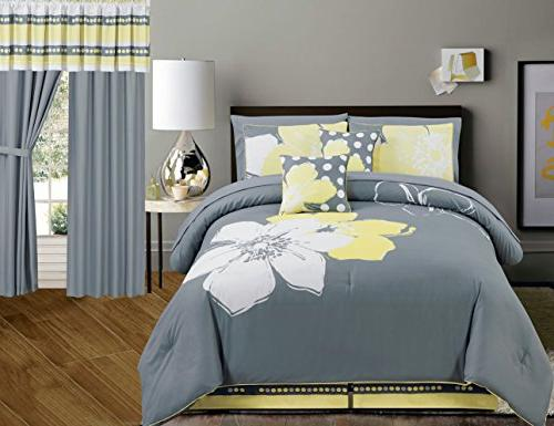 Yellow Grey White Fl Bed In A Bag, Queen Size Bedding In A Bag