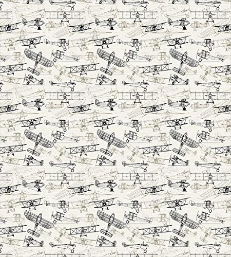 Ambesonne Airplane Duvet Fashioned Airplanes Drawn Style Pattern, Bedding Set Pillow Olive Green Tan