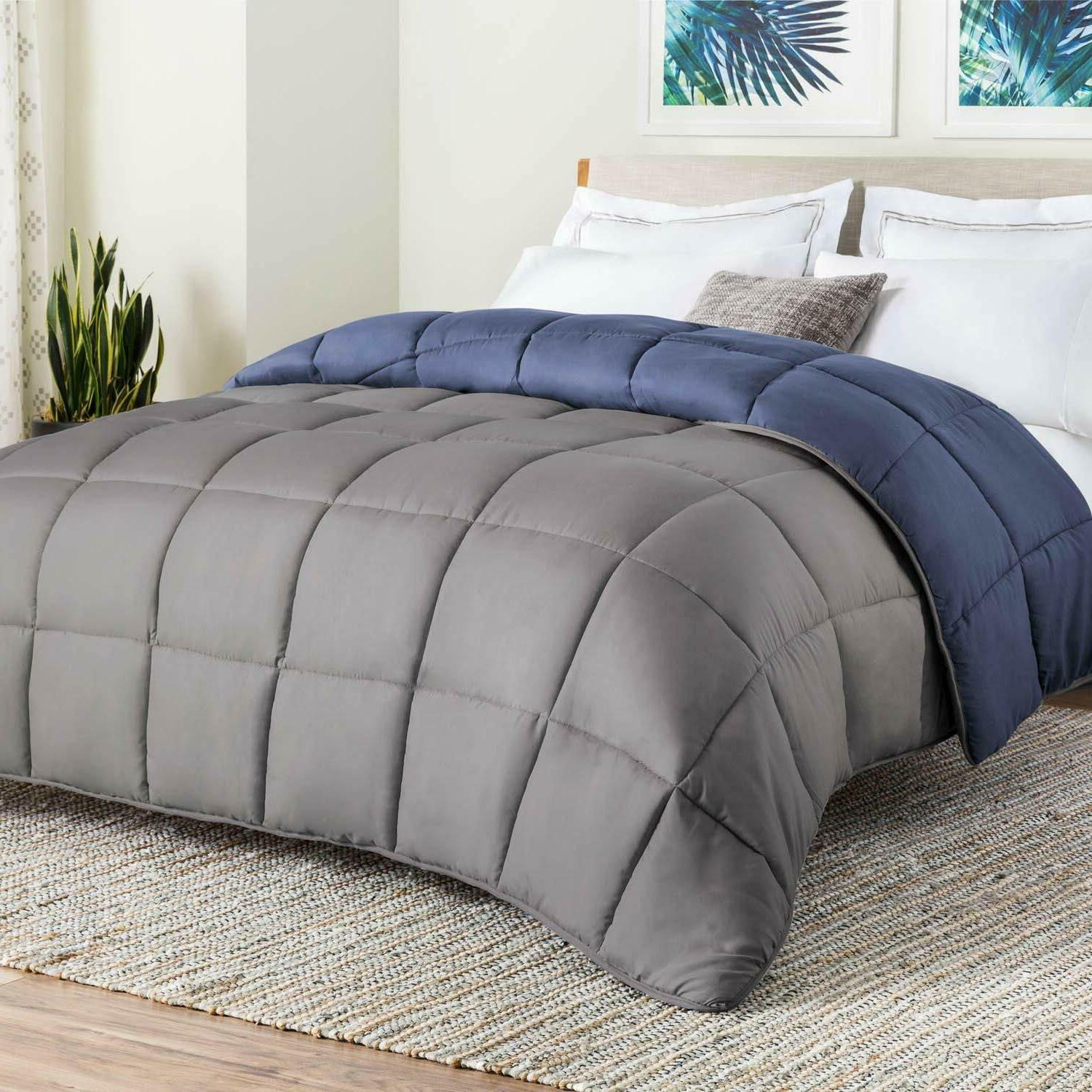 LINENSPA Comforter All-Season Reversible Quilted Plush Micro