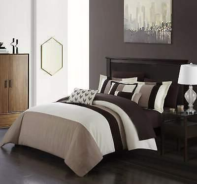 Chic Home Ayelet 10 Piece Color Block Comforter Set Bed a Bag