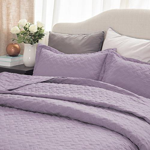 Bedsure Set-Full Queen Size -3 Basketweave Quilted