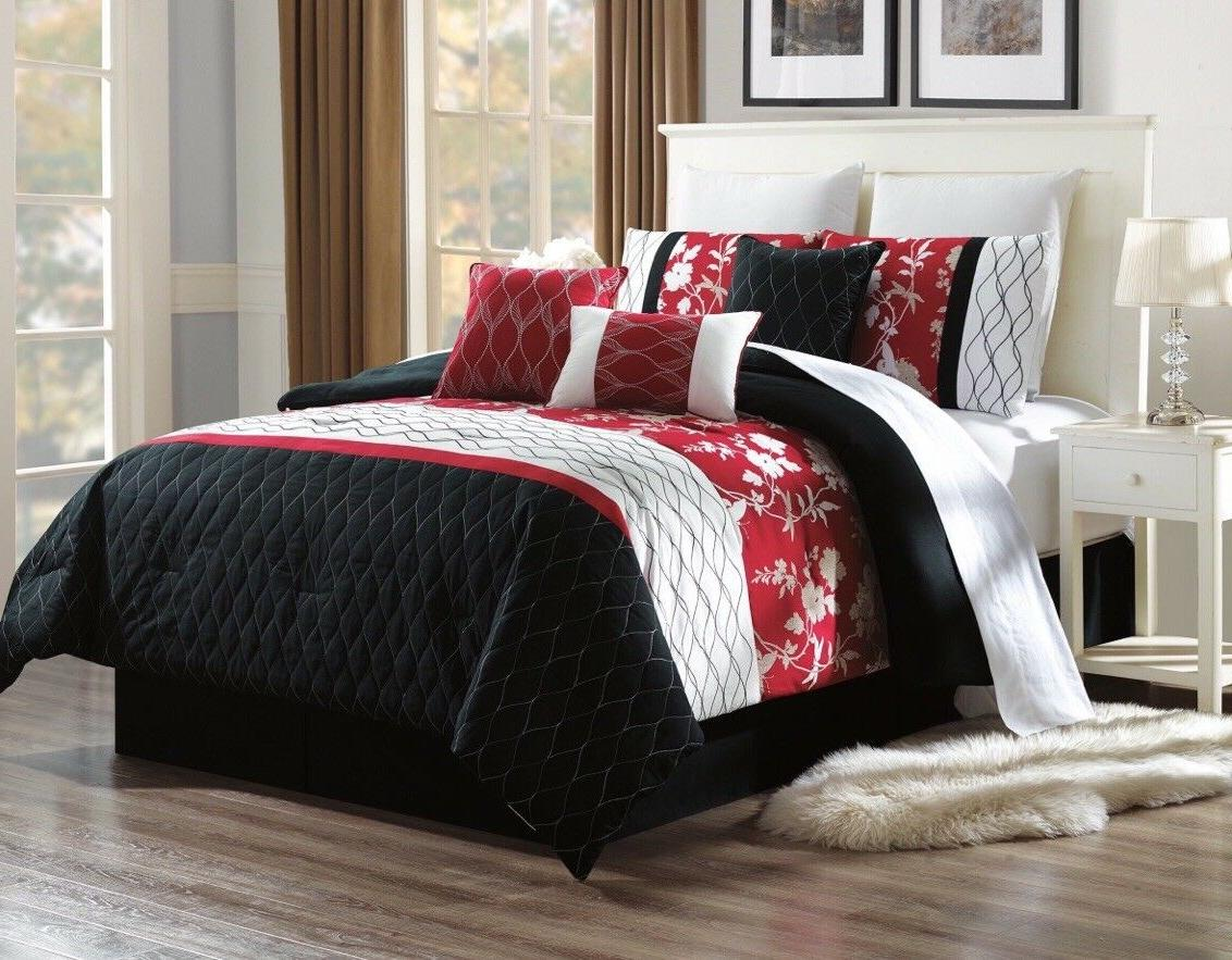 bedroom black red duvet white diamond floral