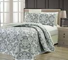 3pc Black Gray Ombre Mandala Medallion Reversible Bedspread