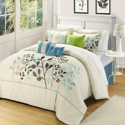 bouquet 8 piece comforter set queen blue
