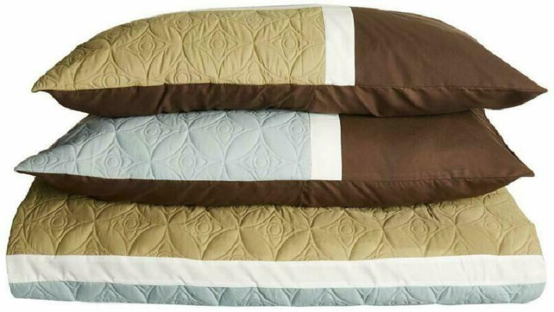 Chezmoi Collection 7-Piece Quilted Patchwork Comforter (Full, Aqua Blue/Sage