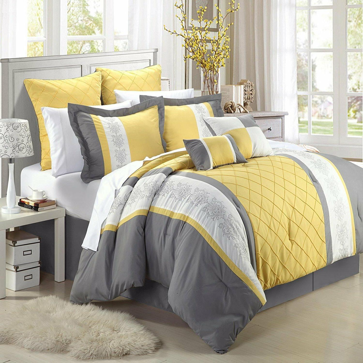 Chic Embroidery Comforter Set, Floral Yellow