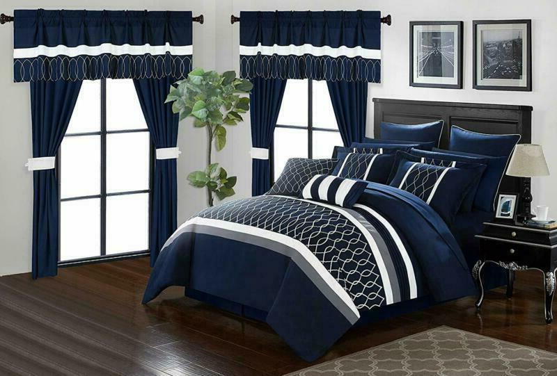Chic Piece In A Bag Comforter Set, Blue,