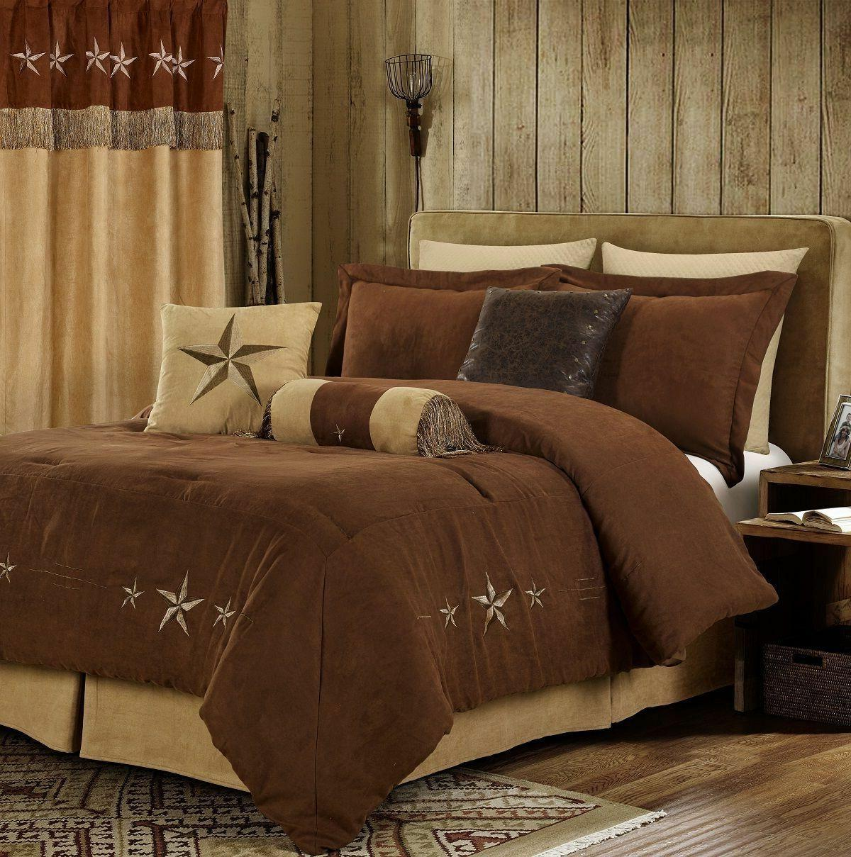 Classic Texas Lone Star Synthetic Suede Brown Comforter Cal