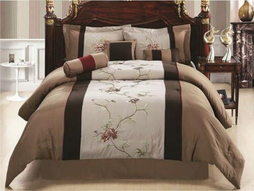 coffee tan floral embroidered comforter