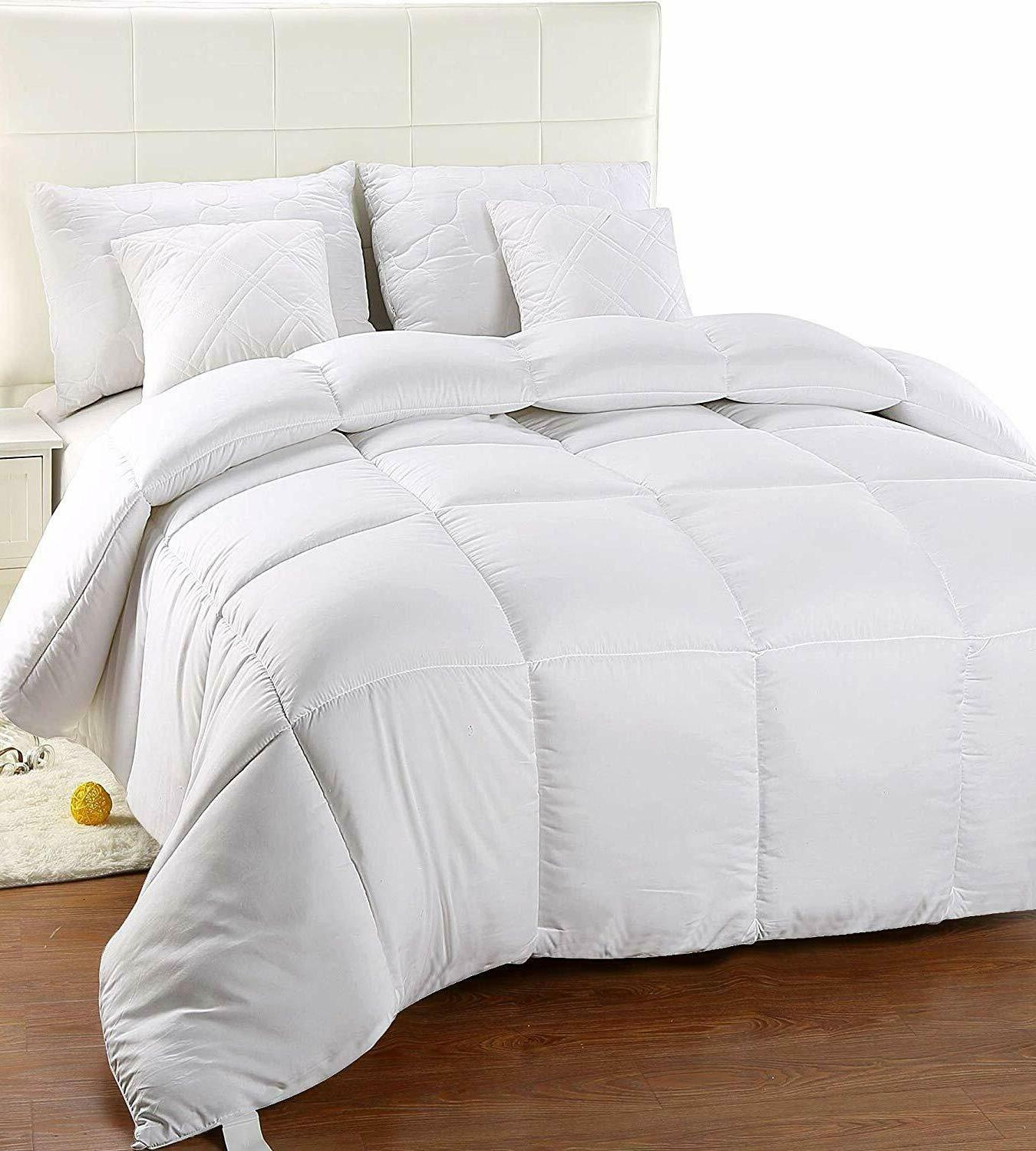 Comforter Insert White Quilted Down Alternative Design Lot