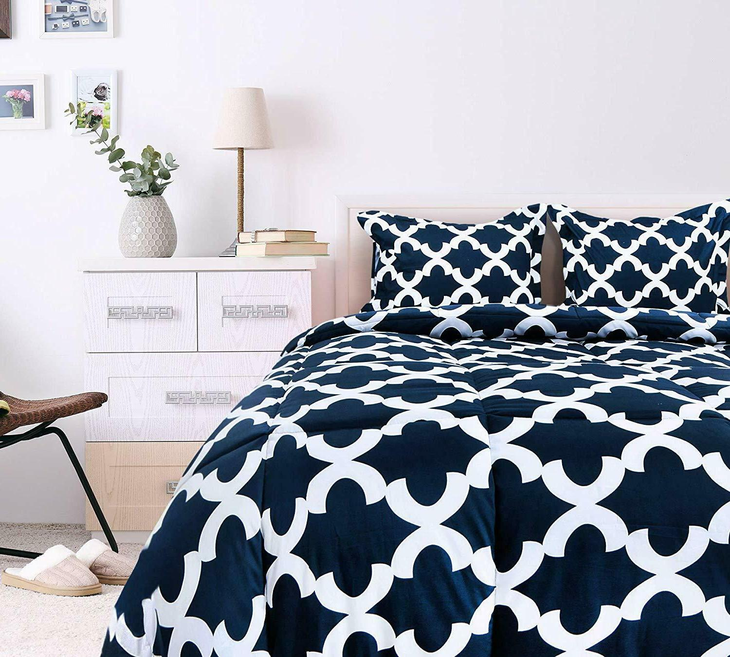 Printed Comforter Set 2 Pillow Brushed Microfiber by