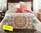 coral pink medallion comforter reversible bedding set