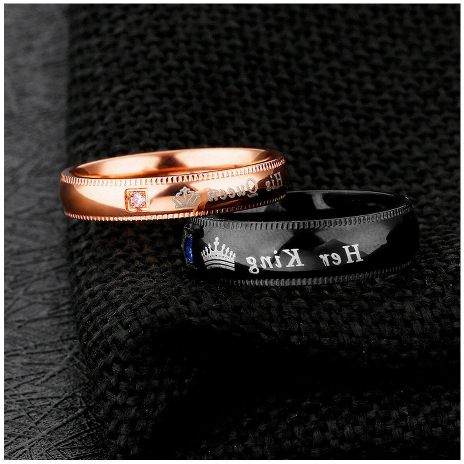 Couple's Ring, His Queen Her Wedding Band Ring