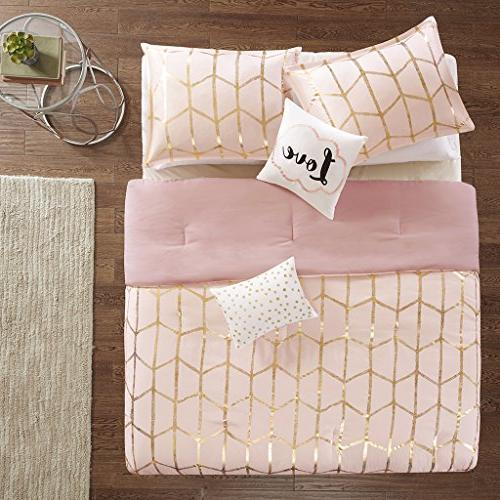 Intelligent Design Raina Comforter Blush Geometric 5 Bed – Ultra Soft Teen Bedding for