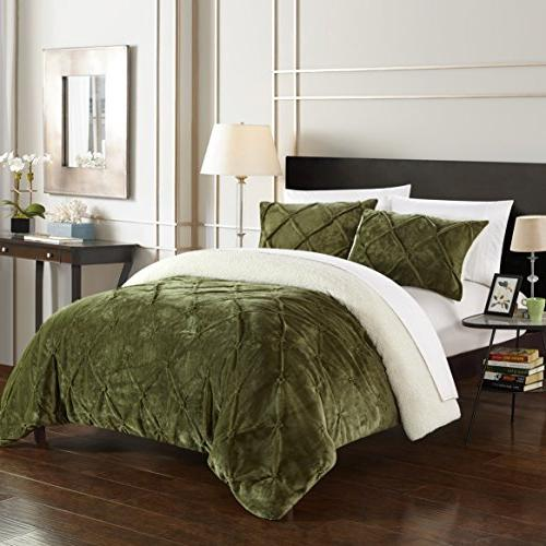 Chic 3 Josepha Pinch and Pin Tuck Lined Queen Bed a Green