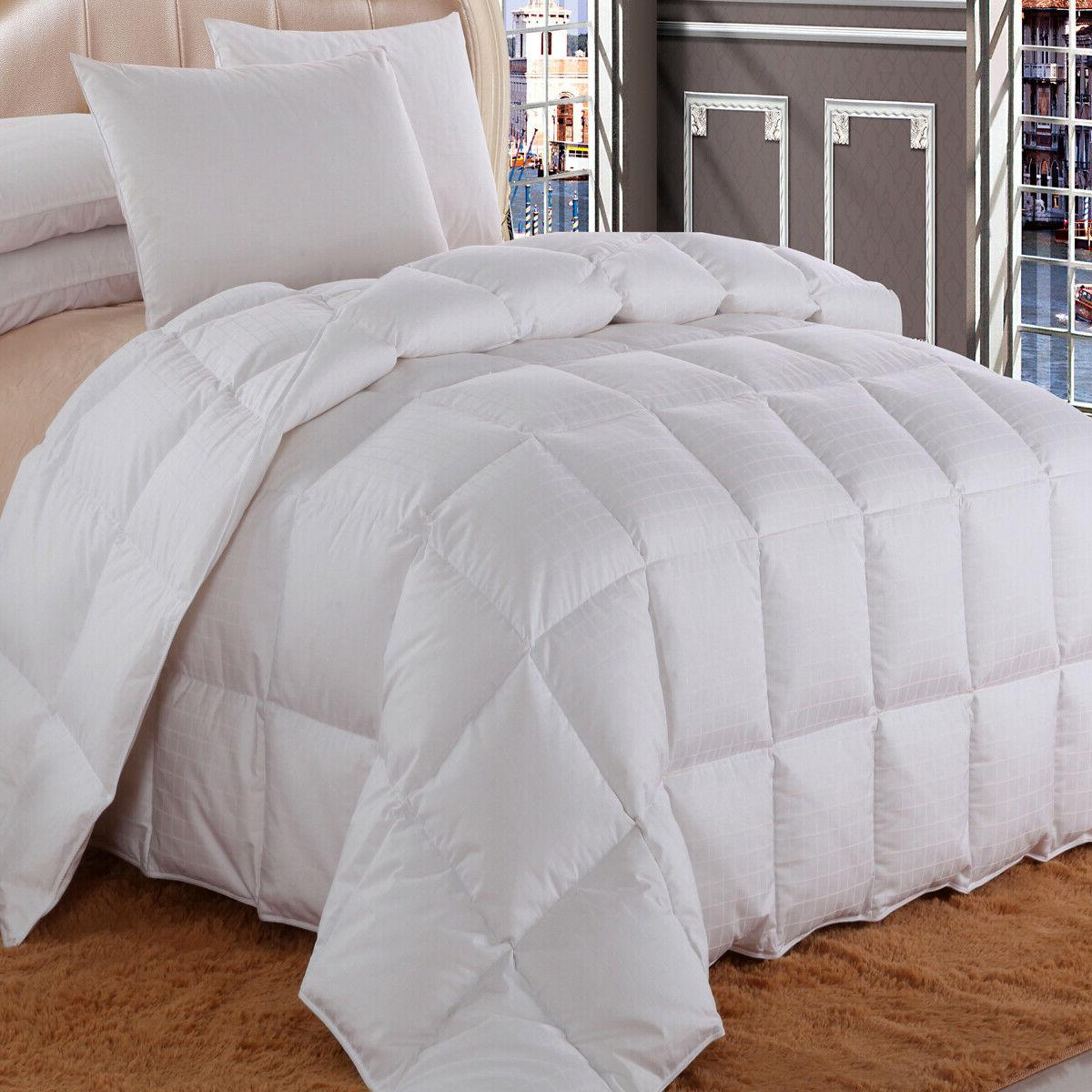Dobby Checkered White Down-Comforter, 100% Cotton Shell All