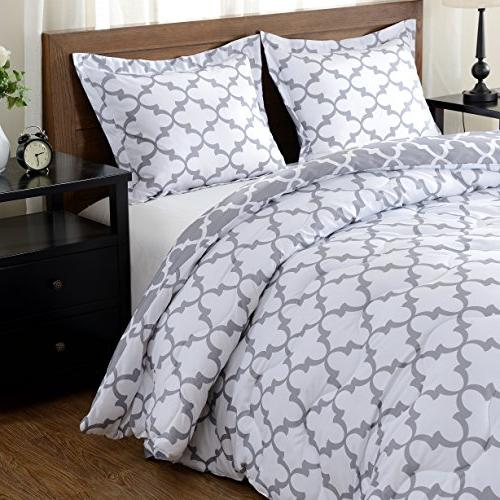 downluxe Lightweight Down Reversible 3-Piece Comforter Set with Reversible Shams,Grey,
