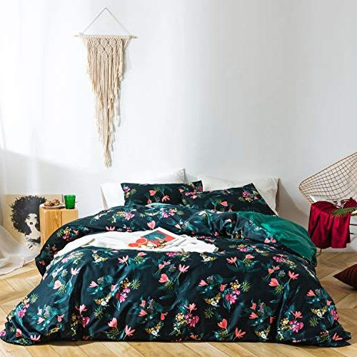 SUSYBAO 3 Pieces Cover Cotton Queen Size Retro Set 1 Reversible Cover Pillowcases Luxury Quality Soft