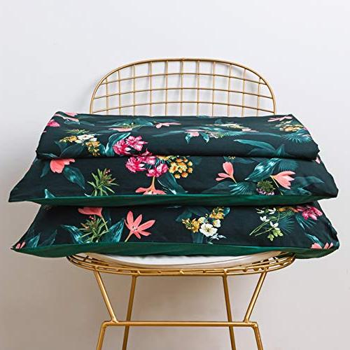 SUSYBAO Cover Set 100% Natural Cotton Size Retro Print Set 1 Reversible Cover Pillowcases Quality with Ties