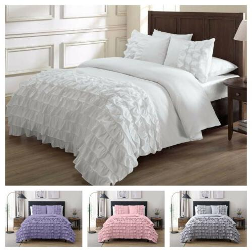 ella waterfall ruffled comforter set white pink