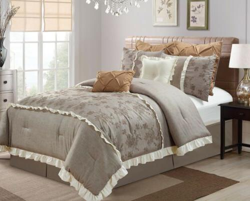 embroidered roses faux linen taupe bedding comforter