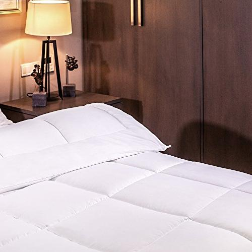 Equinox Comforter White Down Hypoallergenic, Siliconized Box Stitched Comforter Cover Size White Duvet Queen