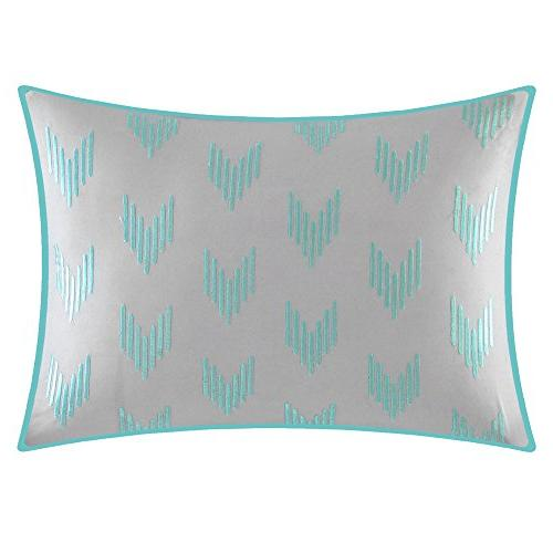 Chic Eyelet Piece Comforter Set Block Bag Bedding-Decorative Pillows Shams Included, Twin Turquoise