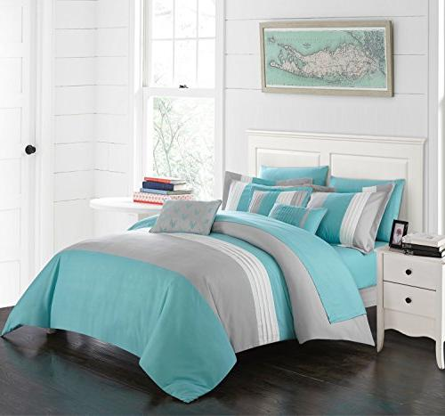Chic Piece Block Pillows Queen, Twin Turquoise