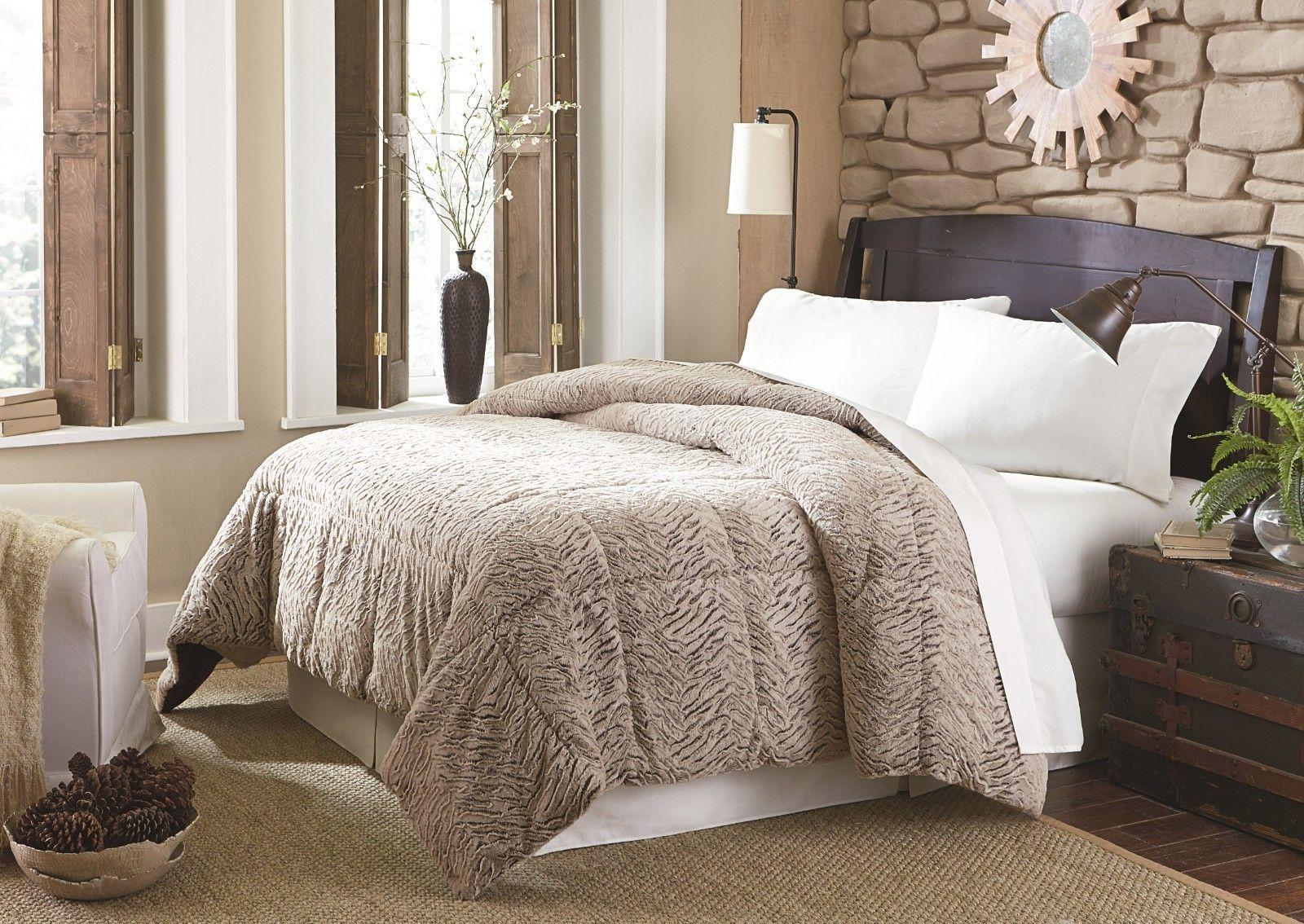faux fur brown and black pattern comforter