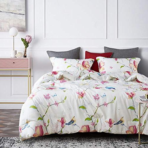 e9d41c82e Wake In Floral Comforter Set, Flowers Birds Printed,100% Fabric Soft